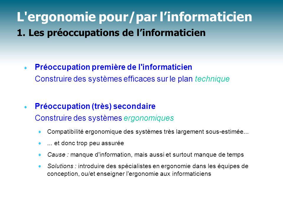 Panorama des méthodes Méthodes de conception et d'évaluation ergonomiques (3)  Méthodes « non interactives » et « interactives » (cf.