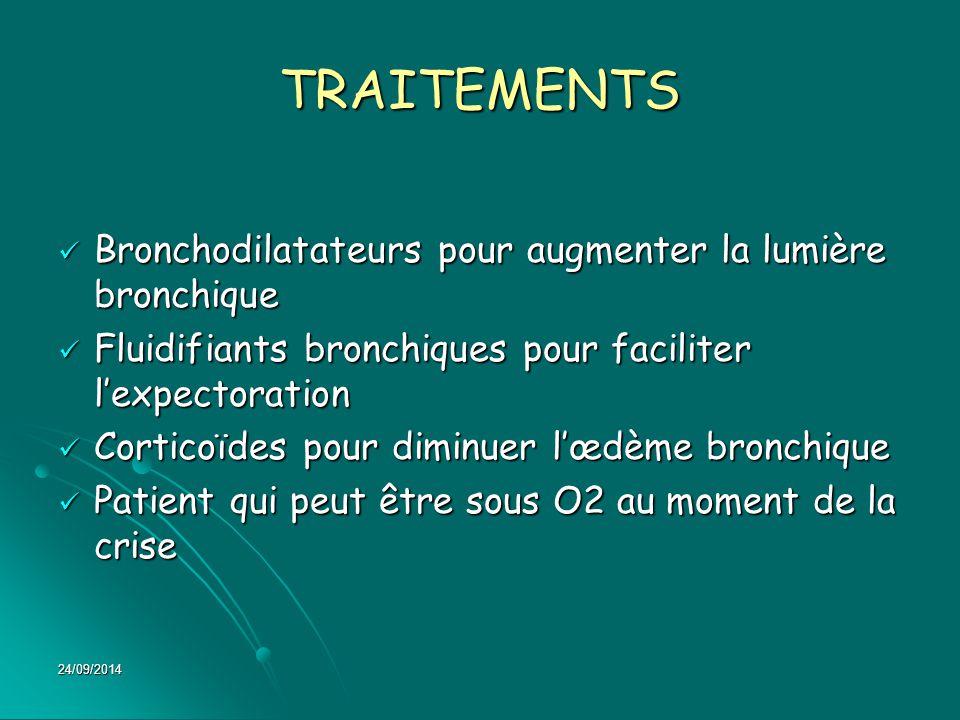 24/09/2014 TRAITEMENTS Bronchodilatateurs pour augmenter la lumière bronchique Bronchodilatateurs pour augmenter la lumière bronchique Fluidifiants br