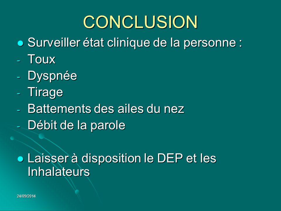 CONCLUSION Surveiller état clinique de la personne : Surveiller état clinique de la personne : - Toux - Dyspnée - Tirage - Battements des ailes du nez