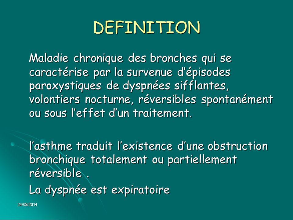 24/09/2014 DEFINITION Maladie chronique des bronches qui se caractérise par la survenue d'épisodes paroxystiques de dyspnées sifflantes, volontiers no