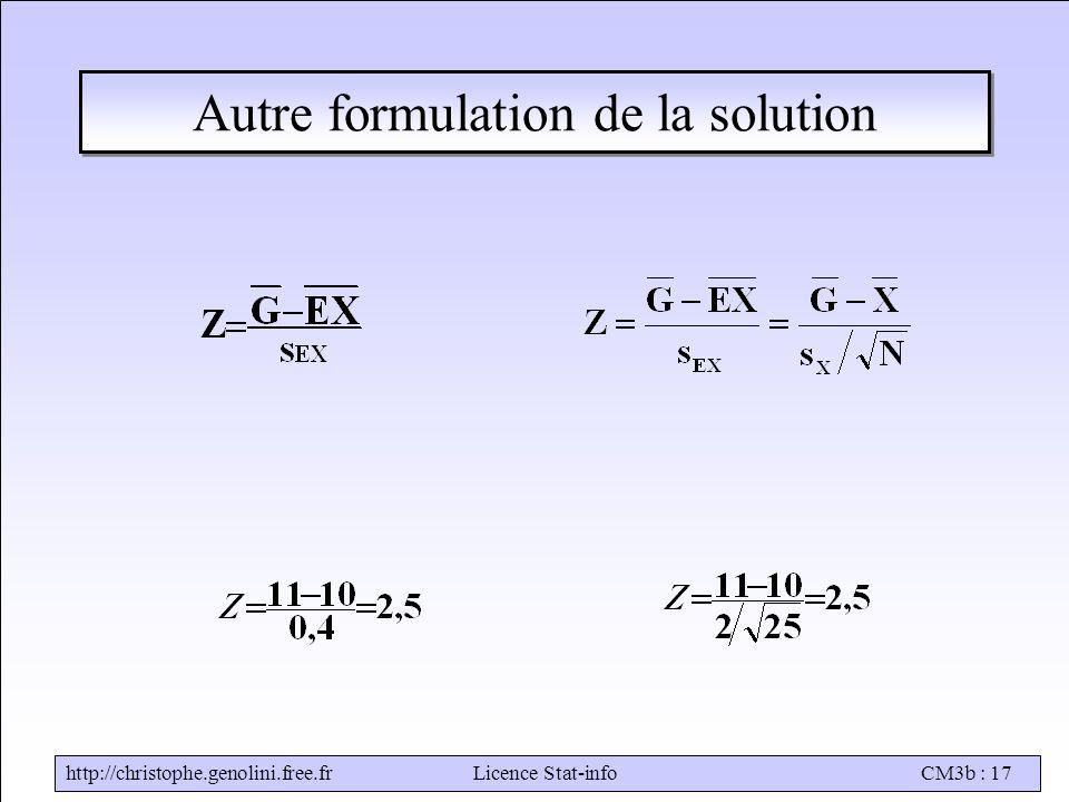 http://christophe.genolini.free.frLicence Stat-infoCM3b : 17 Autre formulation de la solution