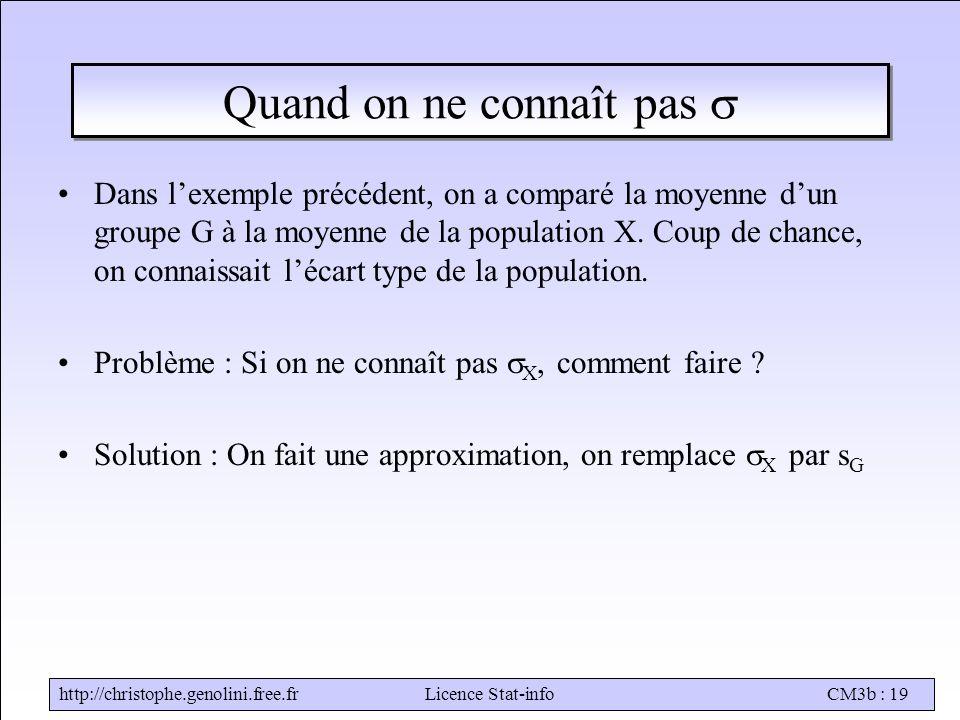http://christophe.genolini.free.frLicence Stat-infoCM3b : 19 Quand on ne connaît pas  Dans l'exemple précédent, on a comparé la moyenne d'un groupe G à la moyenne de la population X.