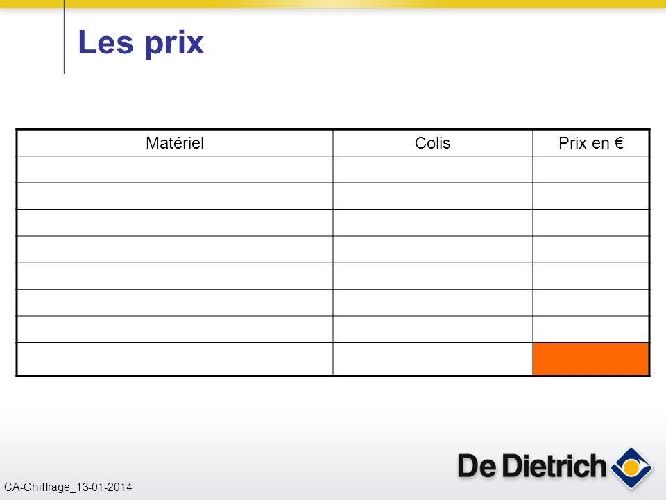 CN 02/11/2004 CA-Chiffrage_13-01-2014 Les prix MatérielColisPrix en €