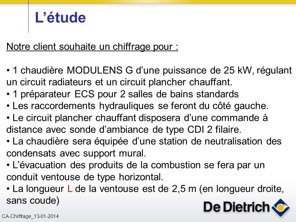 CN 02/11/2004 CA-Chiffrage_13-01-2014 L'étude Notre client souhaite un chiffrage pour : 1 chaudière MODULENS G d'une puissance de 25 kW, régulant un c