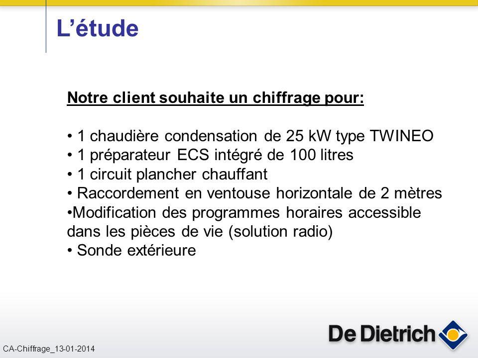 CN 02/11/2004 CA-Chiffrage_13-01-2014 Notre client souhaite un chiffrage pour: 1 chaudière condensation de 25 kW type TWINEO 1 préparateur ECS intégré