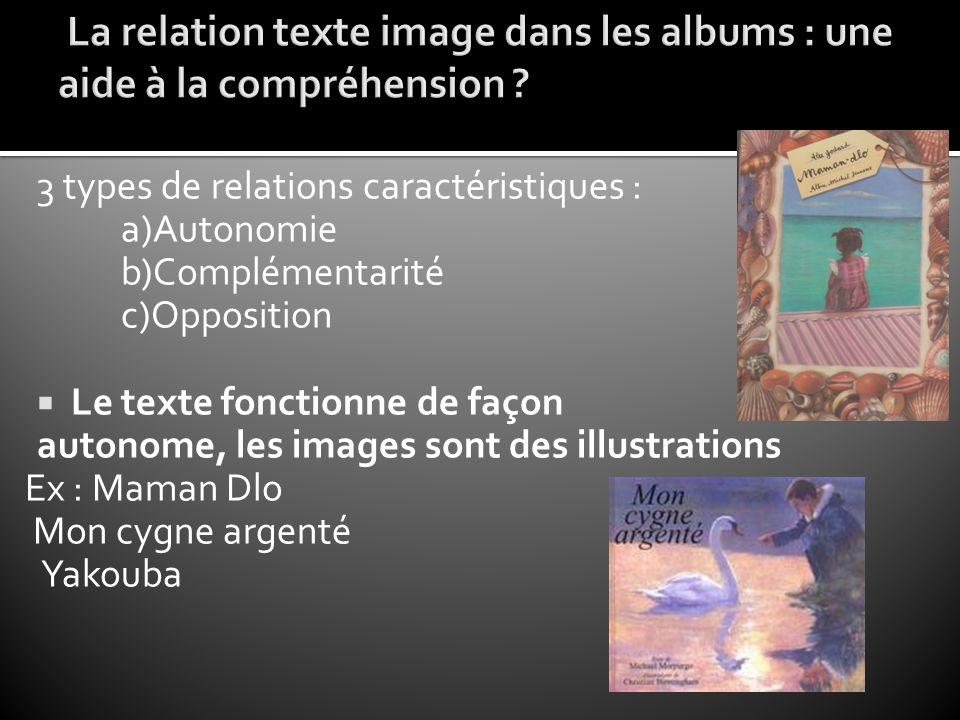 3 types de relations caractéristiques : a)Autonomie b)Complémentarité c)Opposition  Le texte fonctionne de façon autonome, les images sont des illust