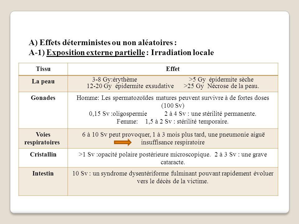 A) Effets déterministes ou non aléatoires : A-1) Exposition externe partielle : Irradiation locale TissuEffet La peau 3-8 Gy:érythème >5 Gy épidermite sèche 12-20 Gy épidermite exsudative >25 Gy Nécrose de la peau.