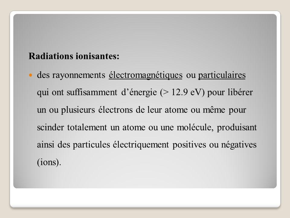 Radiations ionisantes: des rayonnements électromagnétiques ou particulaires qui ont suffisamment d'énergie (> 12.9 eV) pour libérer un ou plusieurs électrons de leur atome ou même pour scinder totalement un atome ou une molécule, produisant ainsi des particules électriquement positives ou négatives (ions).