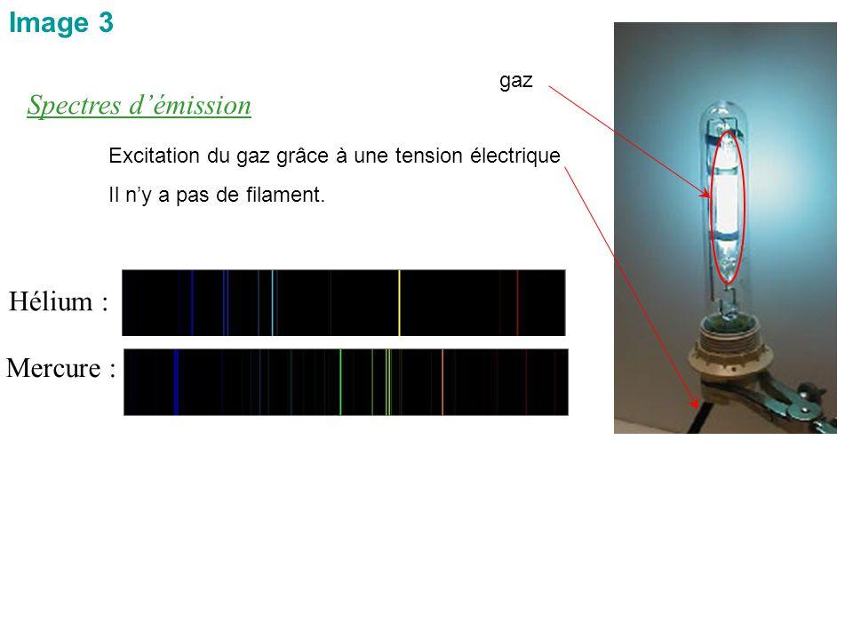 Spectres d'émission Hélium : Mercure : Image 3 gaz Excitation du gaz grâce à une tension électrique Il n'y a pas de filament.