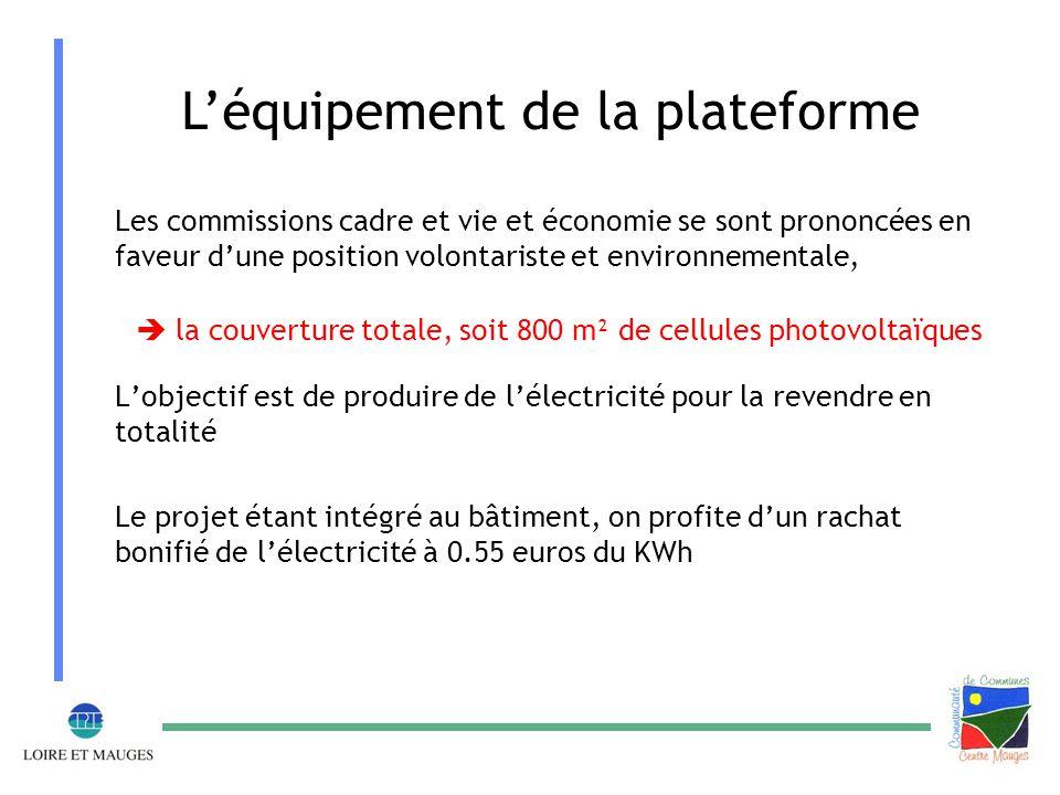 L'équipement de la plateforme Les commissions cadre et vie et économie se sont prononcées en faveur d'une position volontariste et environnementale,  la couverture totale, soit 800 m² de cellules photovoltaïques L'objectif est de produire de l'électricité pour la revendre en totalité Le projet étant intégré au bâtiment, on profite d'un rachat bonifié de l'électricité à 0.55 euros du KWh