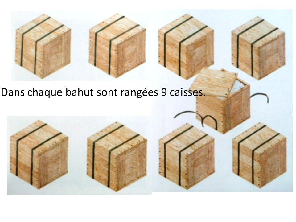 Dans chaque bahut sont rangées 9 caisses.