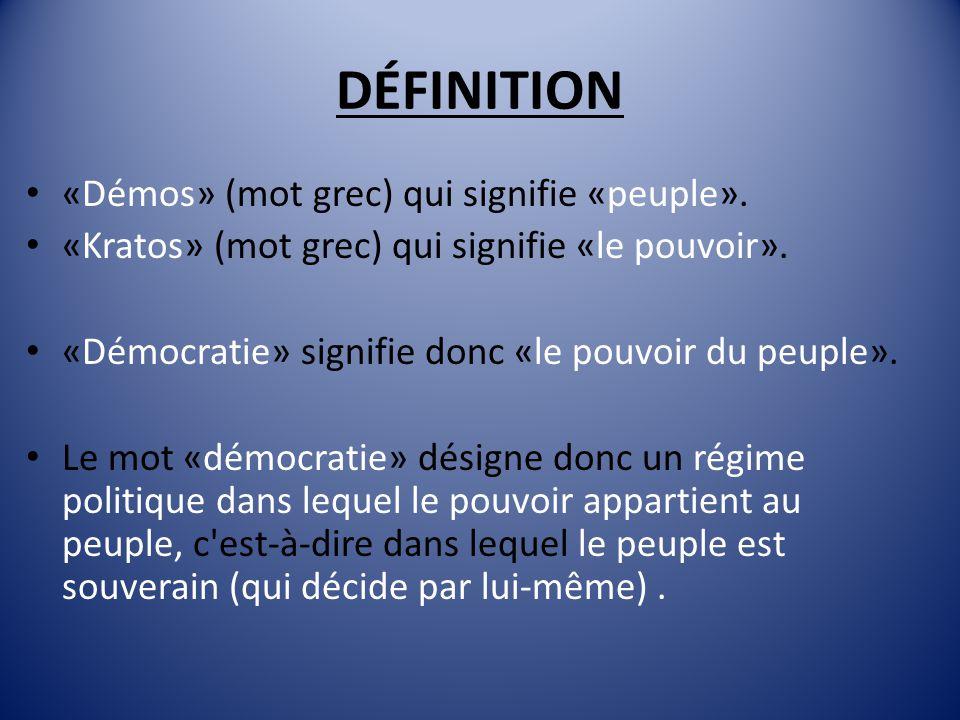 La démocratie est un régime politique qui fait appel à trois caractéristiques essentielles: LIBERTÉÉGALITÉREPRÉSENTATIVITÉ