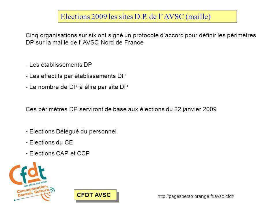 CFDT AVSC Elections 2009 les sites D.P.