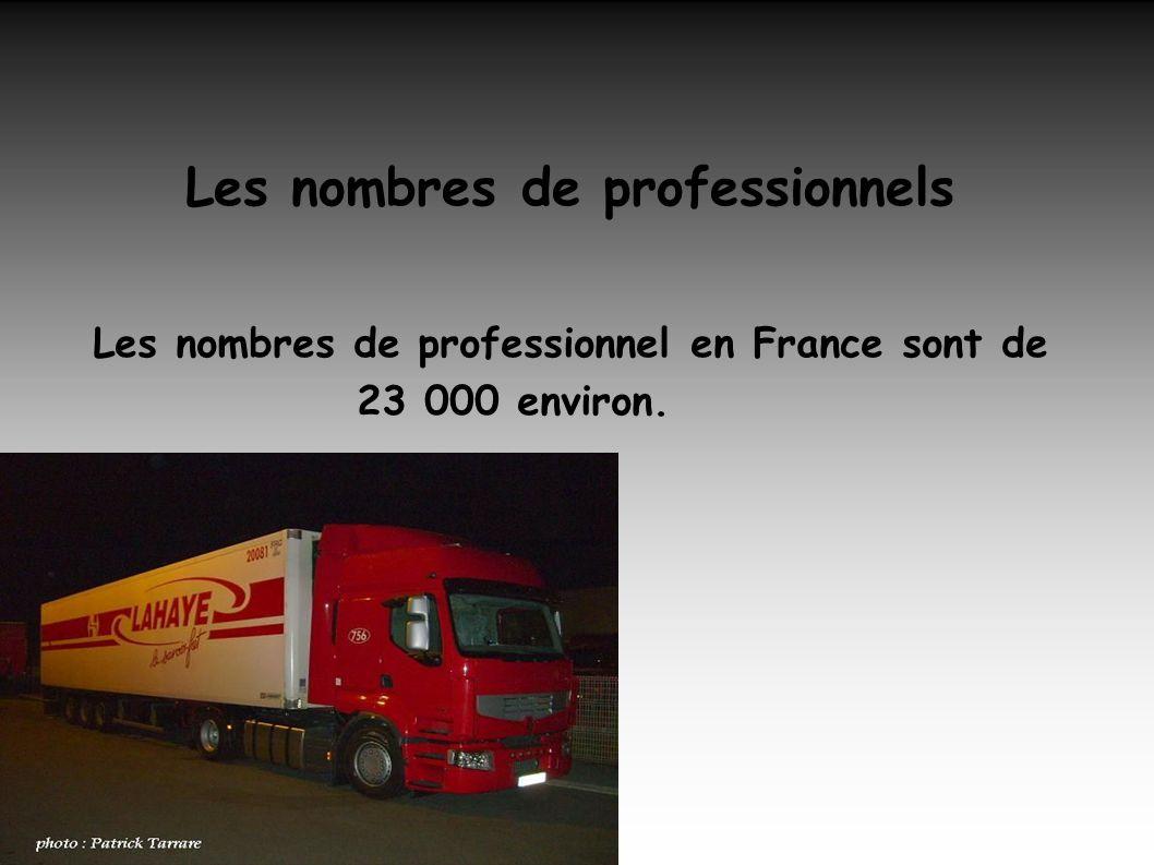 Les nombres de professionnels Les nombres de professionnel en France sont de 23 000 environ.