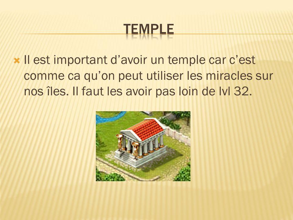  Il est important d'avoir un temple car c'est comme ca qu'on peut utiliser les miracles sur nos îles.