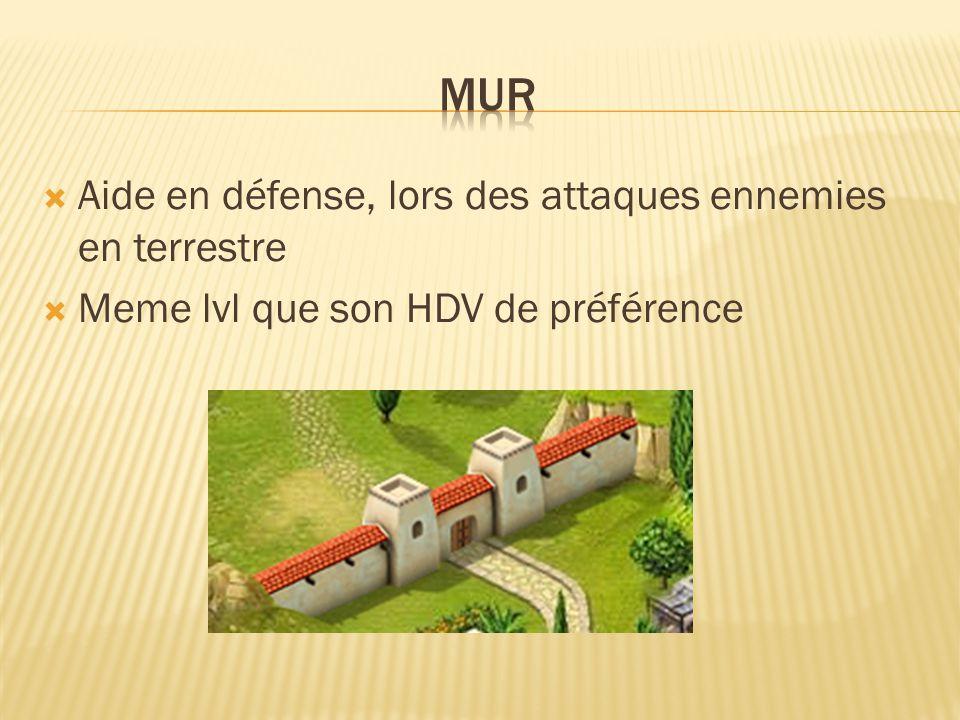  Aide en défense, lors des attaques ennemies en terrestre  Meme lvl que son HDV de préférence