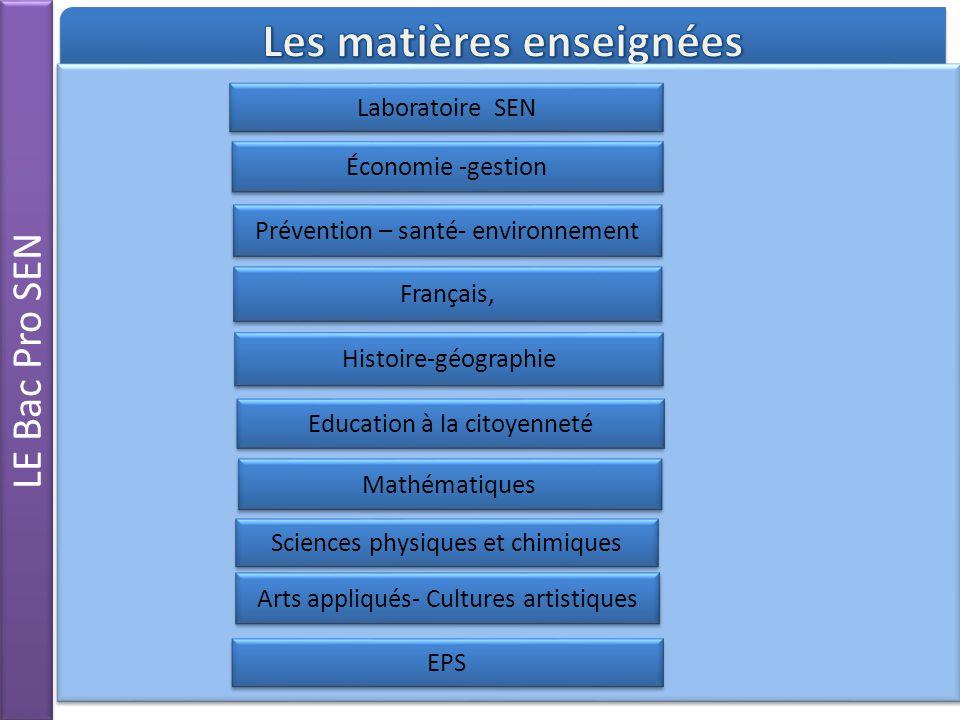 LE Bac Pro SEN Laboratoire SEN Économie -gestion Mathématiques Prévention – santé- environnement Français, Histoire-géographie Sciences physiques et c