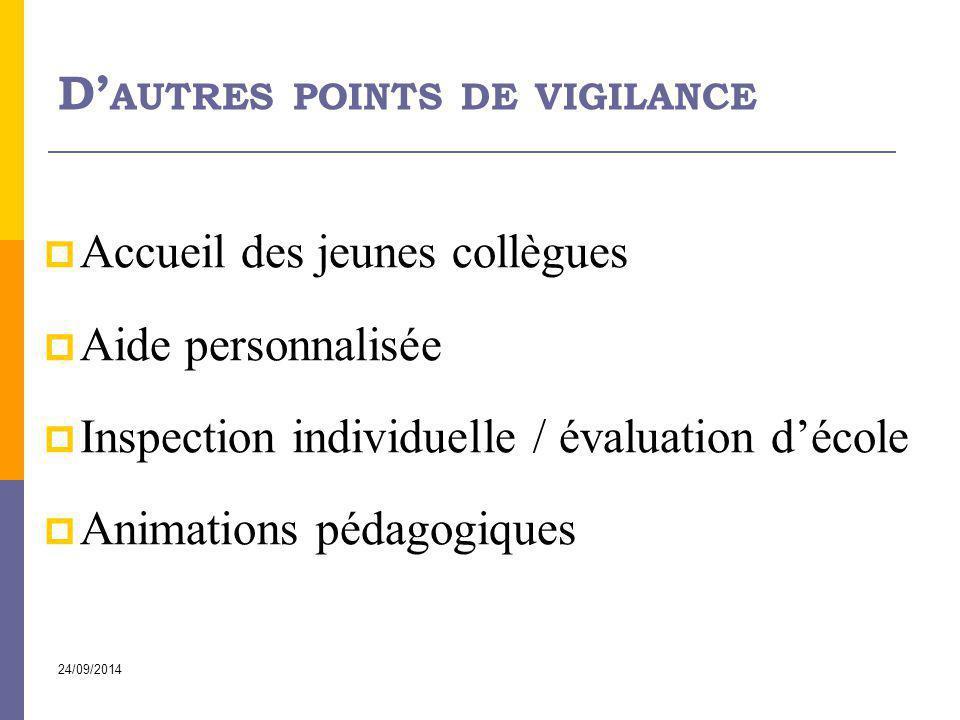 24/09/2014 D' AUTRES POINTS DE VIGILANCE  Accueil des jeunes collègues  Aide personnalisée  Inspection individuelle / évaluation d'école  Animatio