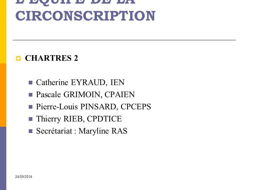 24/09/2014 L'ÉQUIPE DE LA CIRCONSCRIPTION  CHARTRES 2 Catherine EYRAUD, IEN Pascale GRIMOIN, CPAIEN Pierre-Louis PINSARD, CPCEPS Thierry RIEB, CPDTIC