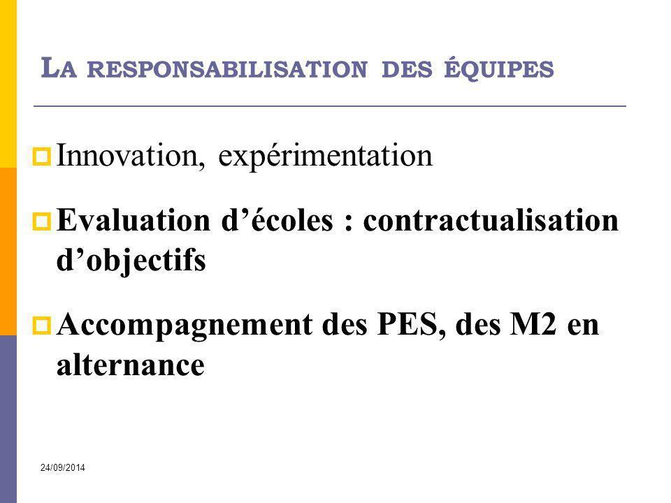24/09/2014 L A RESPONSABILISATION DES ÉQUIPES  Innovation, expérimentation  Evaluation d'écoles : contractualisation d'objectifs  Accompagnement de