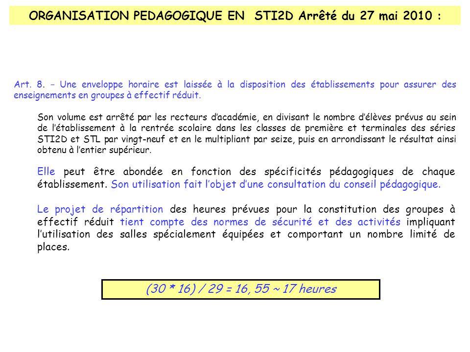 ORGANISATION PEDAGOGIQUE EN STI2D Arrêté du 27 mai 2010 : Elle peut être abondée en fonction des spécificités pédagogiques de chaque établissement.