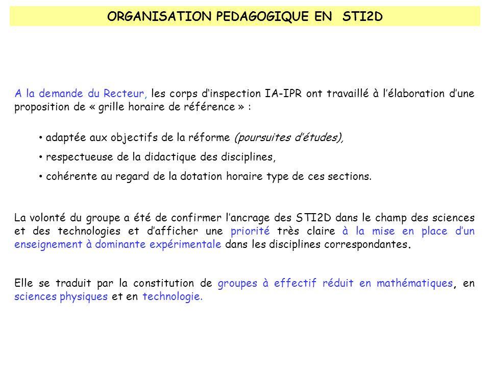 ORGANISATION PEDAGOGIQUE EN STI2D A la demande du Recteur, les corps d'inspection IA-IPR ont travaillé à l'élaboration d'une proposition de « grille horaire de référence » : adaptée aux objectifs de la réforme (poursuites d'études), respectueuse de la didactique des disciplines, cohérente au regard de la dotation horaire type de ces sections.