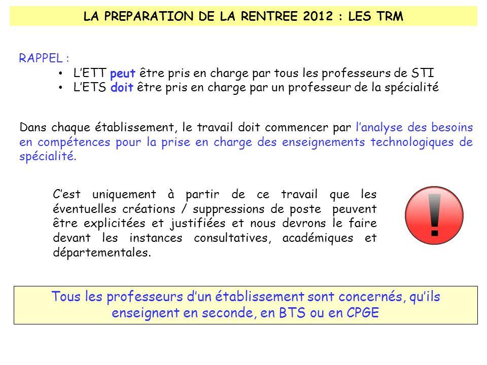 LA PREPARATION DE LA RENTREE 2012 : LES TRM Dans chaque établissement, le travail doit commencer par l'analyse des besoins en compétences pour la prise en charge des enseignements technologiques de spécialité.