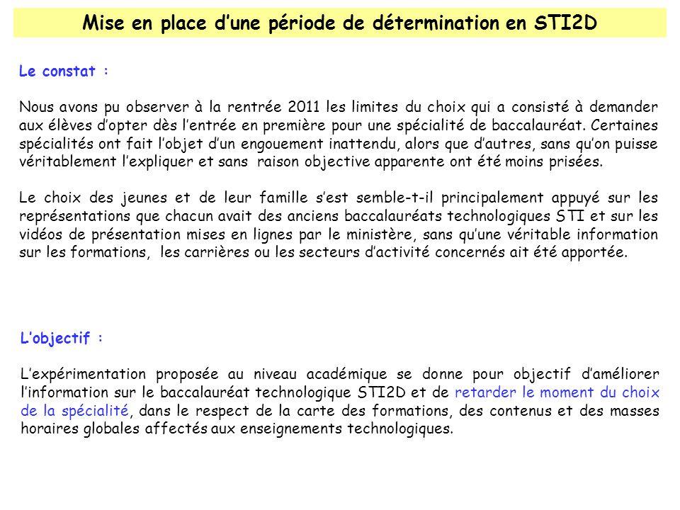 Mise en place d'une période de détermination en STI2D Le constat : Nous avons pu observer à la rentrée 2011 les limites du choix qui a consisté à demander aux élèves d'opter dès l'entrée en première pour une spécialité de baccalauréat.