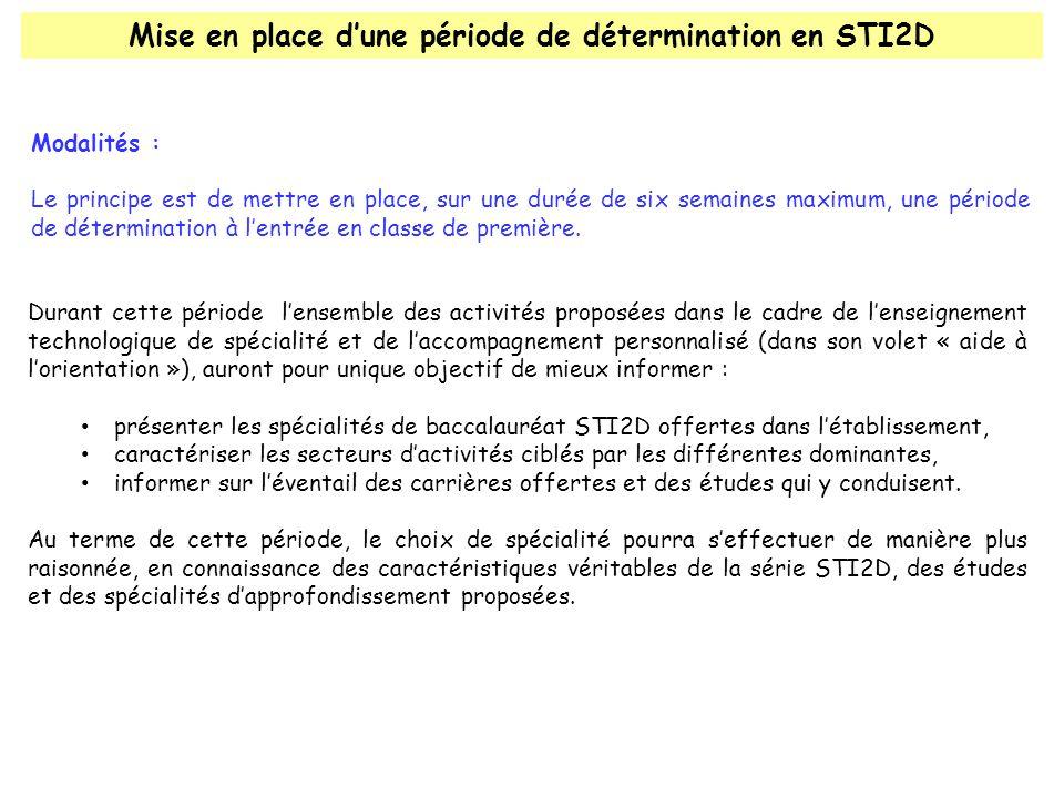 Mise en place d'une période de détermination en STI2D Modalités : Le principe est de mettre en place, sur une durée de six semaines maximum, une période de détermination à l'entrée en classe de première.
