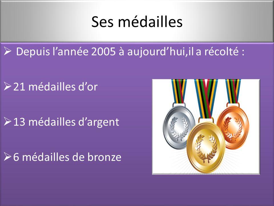 Ses médailles  Depuis l'année 2005 à aujourd'hui,il a récolté :  21 médailles d'or  13 médailles d'argent  6 médailles de bronze  Depuis l'année 2005 à aujourd'hui,il a récolté :  21 médailles d'or  13 médailles d'argent  6 médailles de bronze