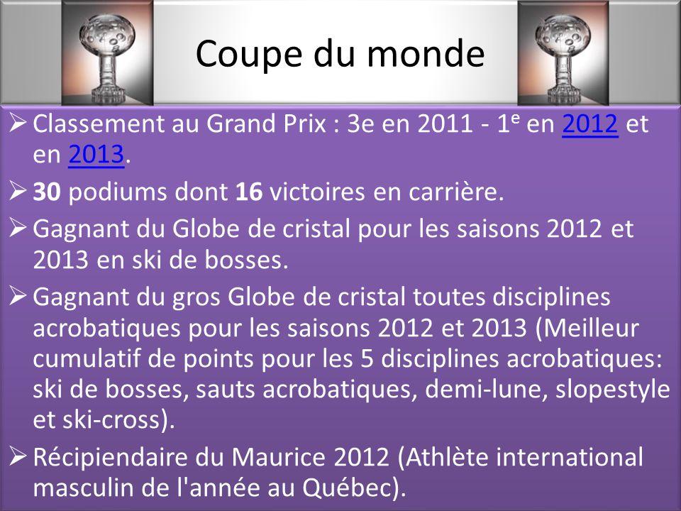 Coupe du monde  Classement au Grand Prix : 3e en 2011 - 1 e en 2012 et en 2013.20122013  30 podiums dont 16 victoires en carrière.
