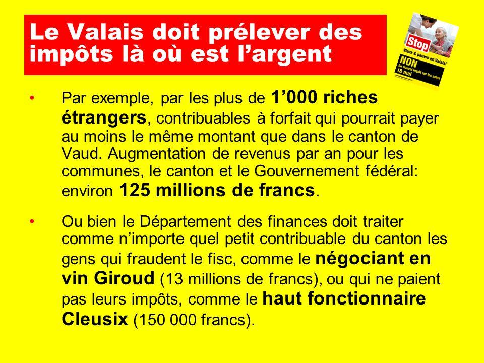Le Valais doit prélever des impôts là où est l'argent Par exemple, par les plus de 1'000 riches étrangers, contribuables à forfait qui pourrait payer au moins le même montant que dans le canton de Vaud.