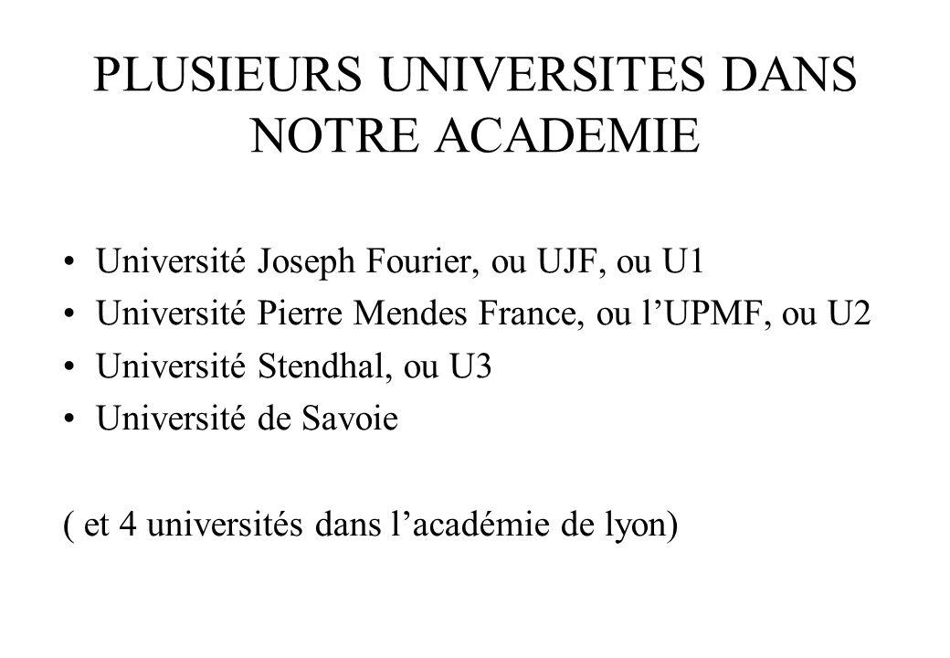 PLUSIEURS UNIVERSITES DANS NOTRE ACADEMIE Université Joseph Fourier, ou UJF, ou U1 Université Pierre Mendes France, ou l'UPMF, ou U2 Université Stendhal, ou U3 Université de Savoie ( et 4 universités dans l'académie de lyon)