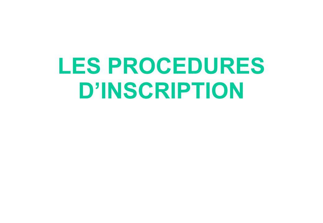 LES PROCEDURES D'INSCRIPTION