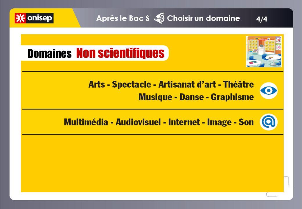 Domaines Non scientifiques 4/4 Après le Bac S Choisir un domaine