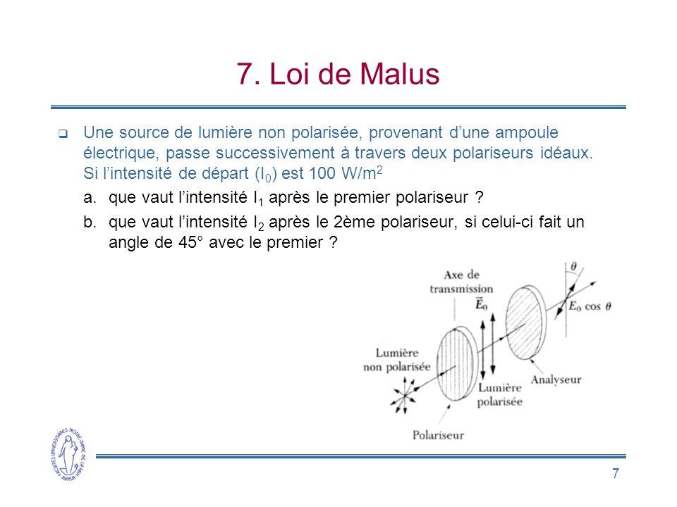 7 7. Loi de Malus  Une source de lumière non polarisée, provenant d'une ampoule électrique, passe successivement à travers deux polariseurs idéaux. S