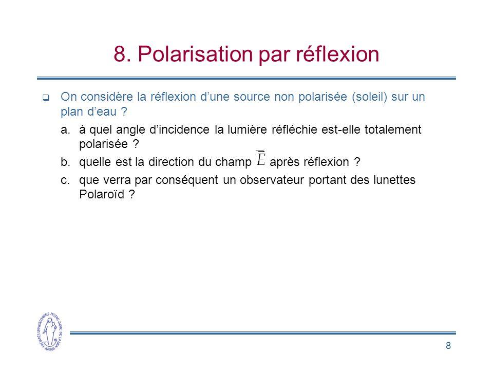 8 8. Polarisation par réflexion  On considère la réflexion d'une source non polarisée (soleil) sur un plan d'eau ? a.à quel angle d'incidence la lumi