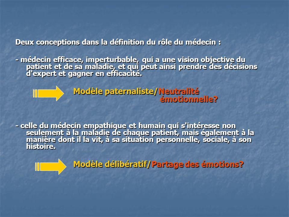 Deux conceptions dans la définition du rôle du médecin : - médecin efficace, imperturbable, qui a une vision objective du patient et de sa maladie, et qui peut ainsi prendre des décisions d expert et gagner en efficacité.