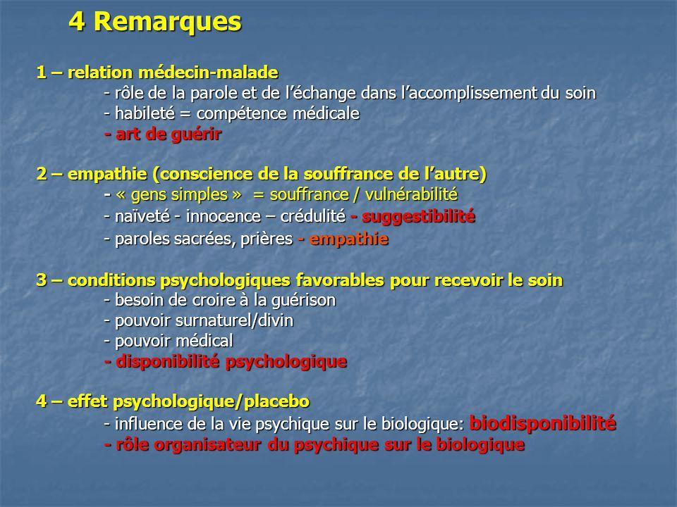 4 Remarques 1 – relation médecin-malade - rôle de la parole et de l'échange dans l'accomplissement du soin - habileté = compétence médicale - art de guérir 2 – empathie (conscience de la souffrance de l'autre) - « gens simples » = souffrance / vulnérabilité - naïveté - innocence – crédulité - suggestibilité - paroles sacrées, prières - empathie 3 – conditions psychologiques favorables pour recevoir le soin - besoin de croire à la guérison - pouvoir surnaturel/divin - pouvoir médical - disponibilité psychologique 4 – effet psychologique/placebo - influence de la vie psychique sur le biologique: biodisponibilité - rôle organisateur du psychique sur le biologique