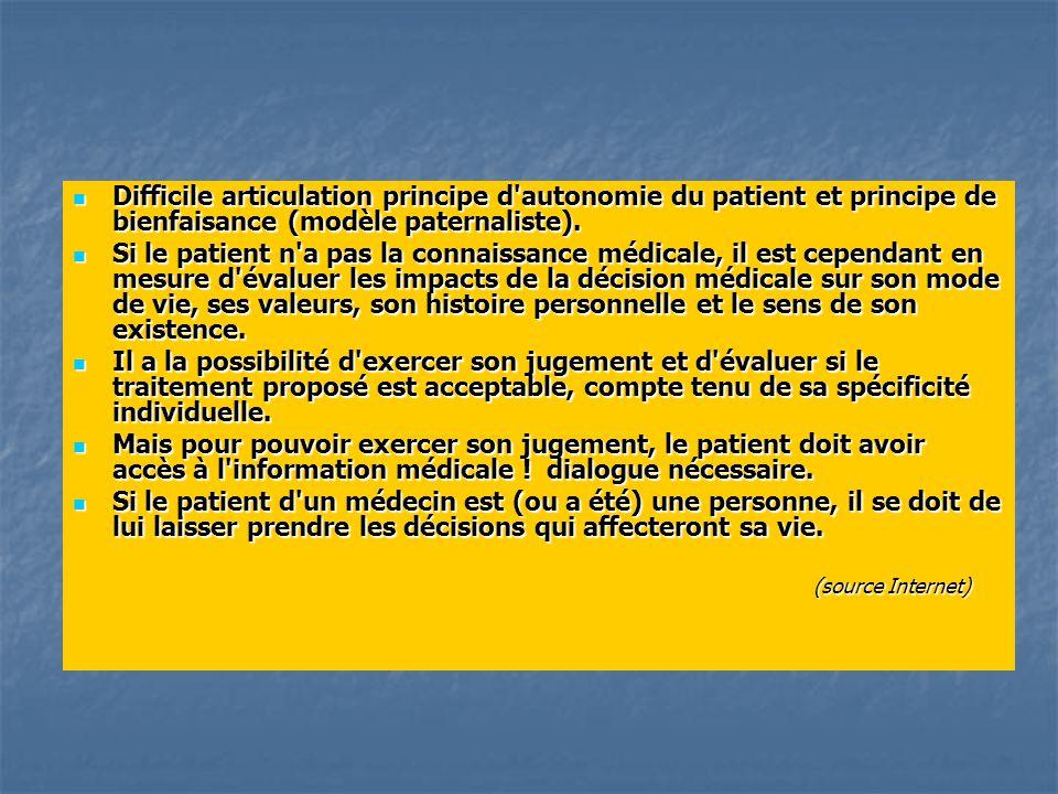 Difficile articulation principe d autonomie du patient et principe de bienfaisance (modèle paternaliste).