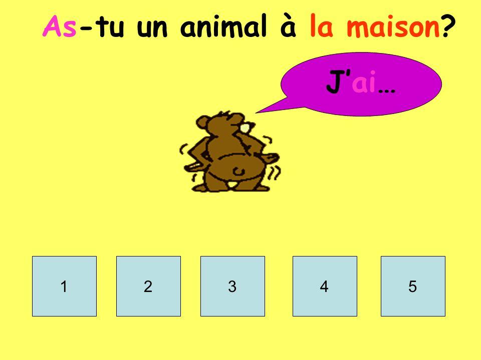 A_-t_ u_ a_ _ _ _ _ à l_ m_ _s_n? J'_ _… 1.Un chi _ _ 2.Un ch _ _ 3.Un la_ _ _ 4.Un oi _ _ _ _ 5.Un po _ _ _ _ _ rouge 6.Un chev _ _ 7.Un coch _ _ d'