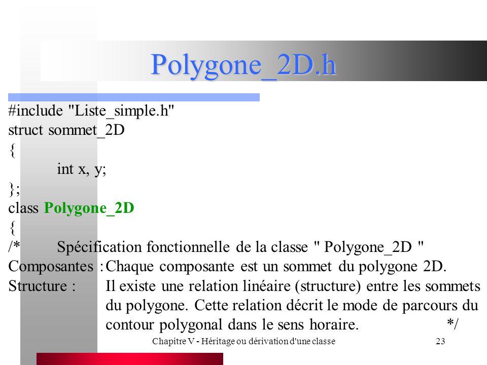 Chapitre V - Héritage ou dérivation d une classe23 Polygone_2D.h #include Liste_simple.h struct sommet_2D { int x, y; }; class Polygone_2D { /*Spécification fonctionnelle de la classe Polygone_2D Composantes :Chaque composante est un sommet du polygone 2D.