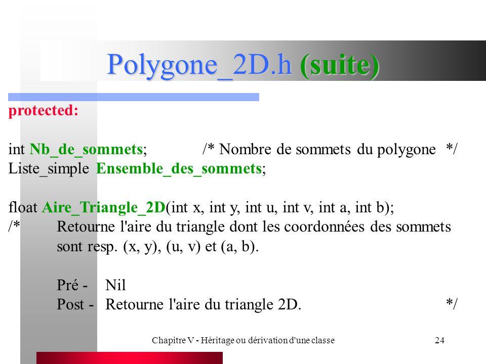 Chapitre V - Héritage ou dérivation d une classe24 Polygone_2D.h (suite) protected: int Nb_de_sommets;/* Nombre de sommets du polygone*/ Liste_simple Ensemble_des_sommets; float Aire_Triangle_2D(int x, int y, int u, int v, int a, int b); /*Retourne l aire du triangle dont les coordonnées des sommets sont resp.