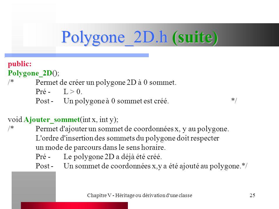 Chapitre V - Héritage ou dérivation d une classe25 Polygone_2D.h (suite) public: Polygone_2D(); /*Permet de créer un polygone 2D à 0 sommet.
