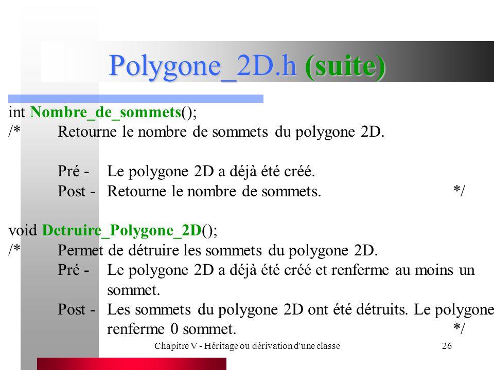 Chapitre V - Héritage ou dérivation d une classe26 Polygone_2D.h (suite) int Nombre_de_sommets(); /*Retourne le nombre de sommets du polygone 2D.