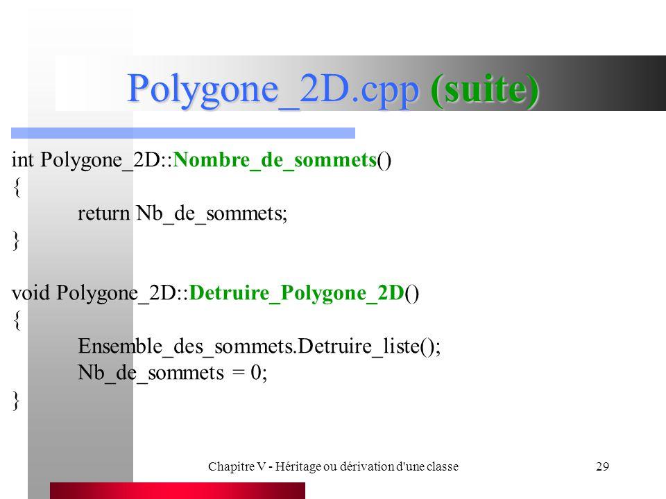 Chapitre V - Héritage ou dérivation d une classe29 Polygone_2D.cpp (suite) int Polygone_2D::Nombre_de_sommets() { return Nb_de_sommets; } void Polygone_2D::Detruire_Polygone_2D() { Ensemble_des_sommets.Detruire_liste(); Nb_de_sommets = 0; }