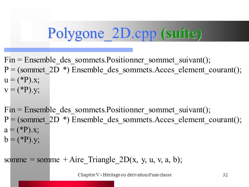 Chapitre V - Héritage ou dérivation d une classe32 Polygone_2D.cpp (suite) Fin = Ensemble_des_sommets.Positionner_sommet_suivant(); P = (sommet_2D *) Ensemble_des_sommets.Acces_element_courant(); u = (*P).x; v = (*P).y; Fin = Ensemble_des_sommets.Positionner_sommet_suivant(); P = (sommet_2D *) Ensemble_des_sommets.Acces_element_courant(); a = (*P).x; b = (*P).y; somme = somme + Aire_Triangle_2D(x, y, u, v, a, b);