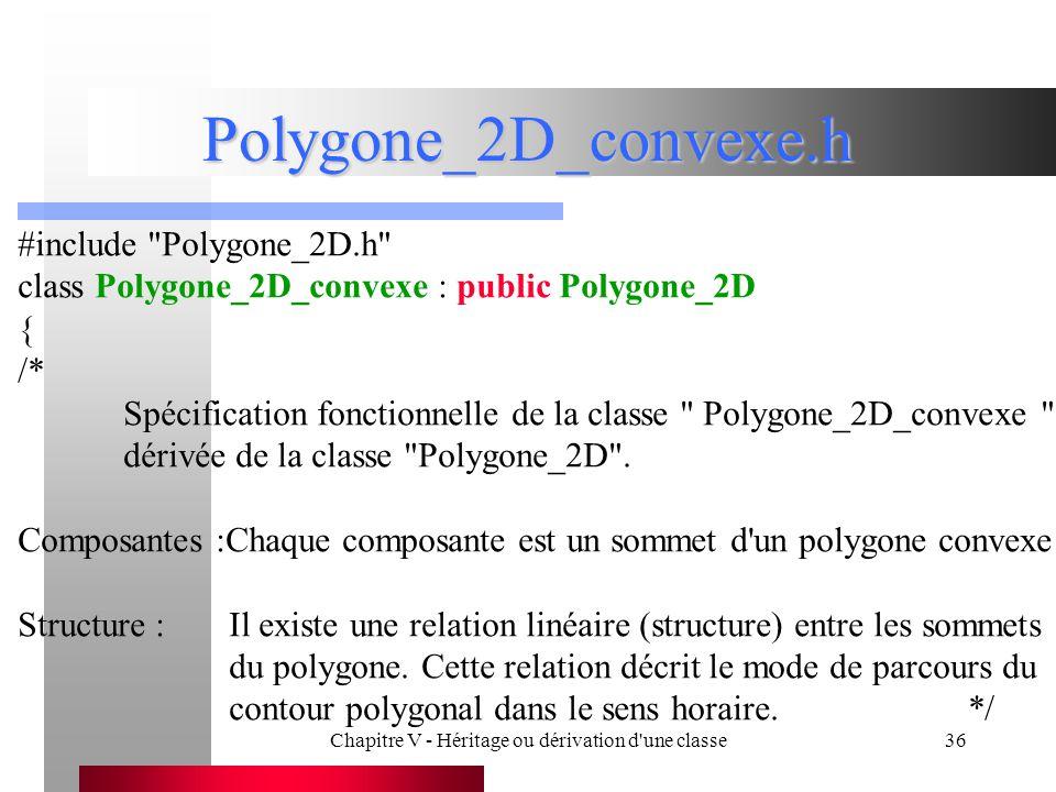 Chapitre V - Héritage ou dérivation d une classe36 Polygone_2D_convexe.h #include Polygone_2D.h class Polygone_2D_convexe : public Polygone_2D { /* Spécification fonctionnelle de la classe Polygone_2D_convexe dérivée de la classe Polygone_2D .