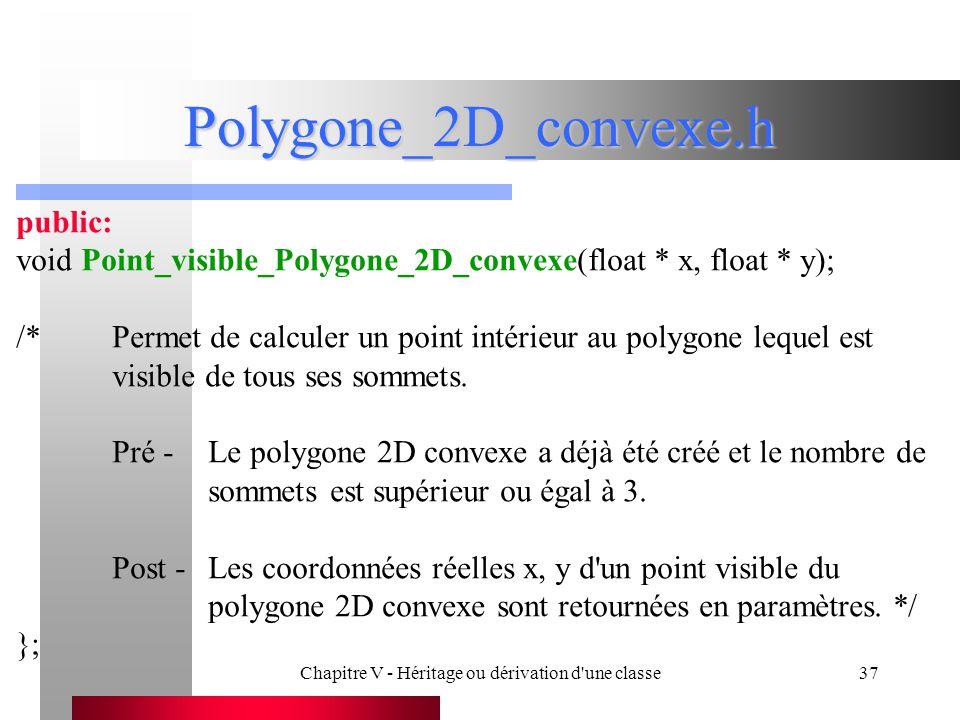 Chapitre V - Héritage ou dérivation d une classe37 Polygone_2D_convexe.h public: void Point_visible_Polygone_2D_convexe(float * x, float * y); /*Permet de calculer un point intérieur au polygone lequel est visible de tous ses sommets.