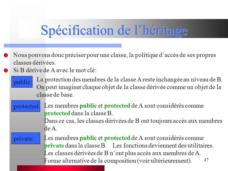 47 Spécification de l'héritage Nous pouvons donc préciser pour une classe, la politique d'accès de ses propres classes dérivées.